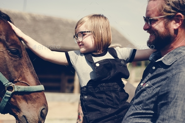 Little girl petting a horse - Stock Photo - Images