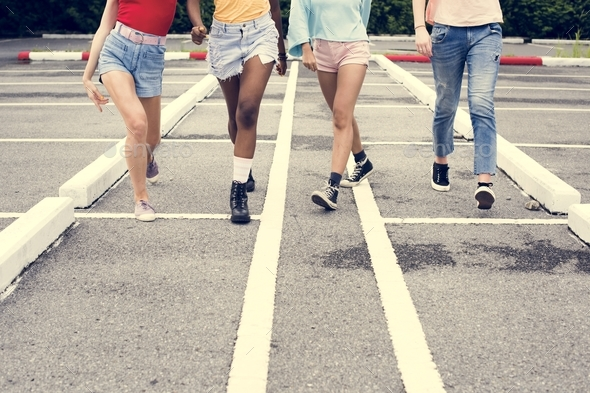 Group of diverse women walking together - Stock Photo - Images