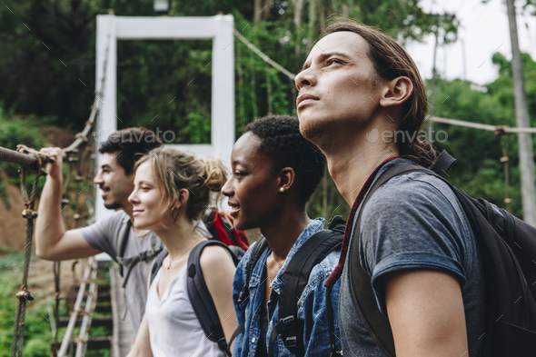 Group of friends on a hiking adventure - Stock Photo - Images