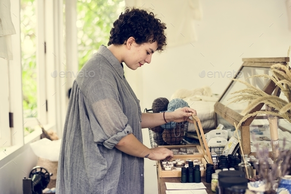 An entrepreneur woman in a clothe shop - Stock Photo - Images