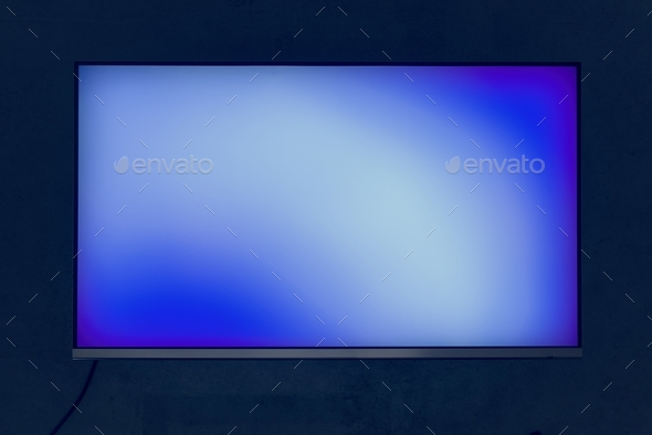 Blue digital blank screen isolated on black - Stock Photo - Images