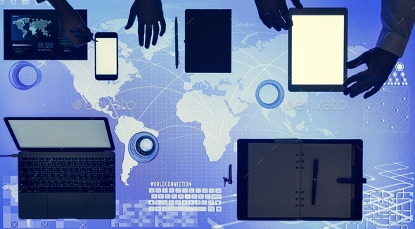 Digital devices on cyber space table - Stock Photo - Images