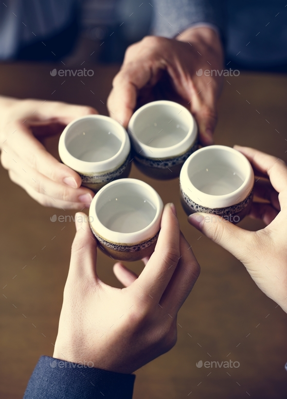 Japanese friends tea party - Stock Photo - Images