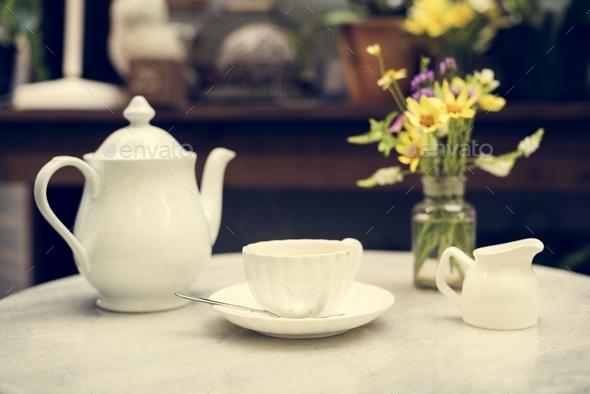 A white porcelain tea set - Stock Photo - Images