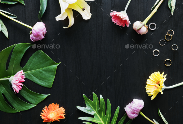 Tropical flowers and leaves design space - Stock Photo - Images