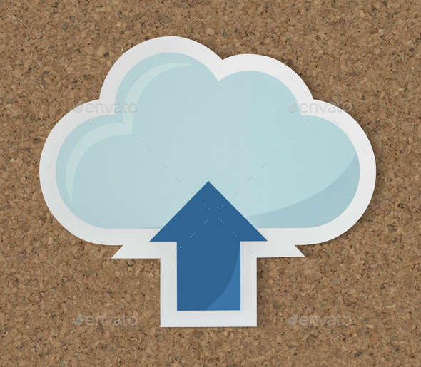 Cloud uploading icon technology graphic - Stock Photo - Images