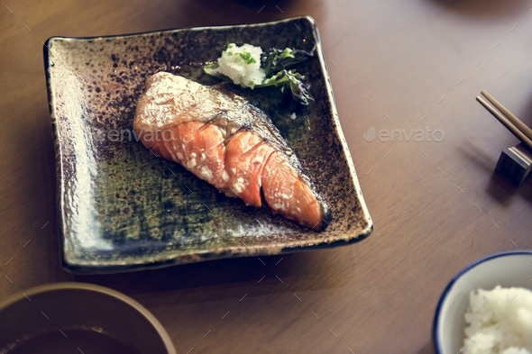 Salmon grilled set japanese food - Stock Photo - Images