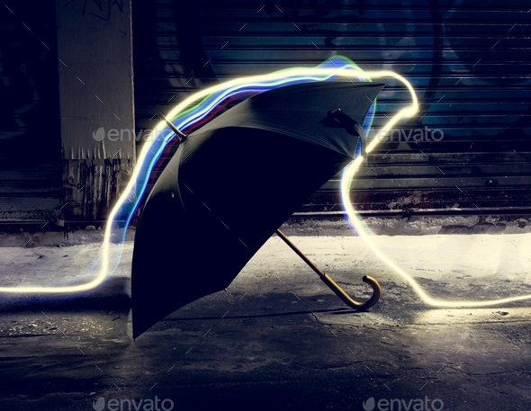 Umbrella with long exposure technique - Stock Photo - Images