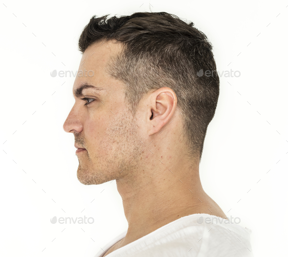 Side portrait of white man - Stock Photo - Images