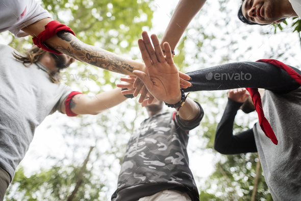 Outdoor team orienteering activity - Stock Photo - Images