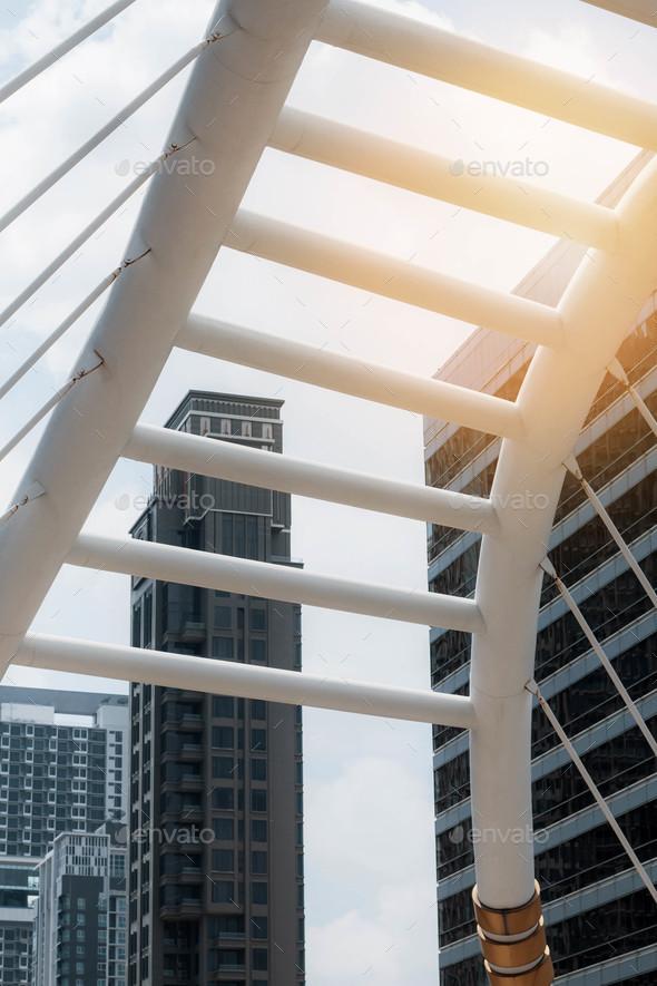 Bridges and office buildings - Stock Photo - Images