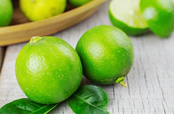 Fresh lime on wooden - Stock Photo - Images