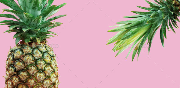 pineapple on pink background - Stock Photo - Images