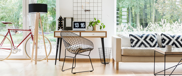 Metal chair in freelancer's room - Stock Photo - Images