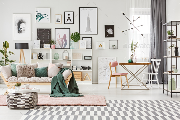 Room with gallery and plants - Stock Photo - Images