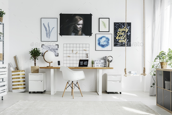 White chair in home office - Stock Photo - Images