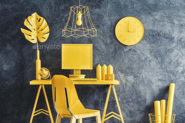 Modern yellow workspace interior - Stock Photo - Images