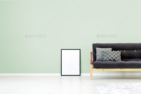 Green wall living room - Stock Photo - Images