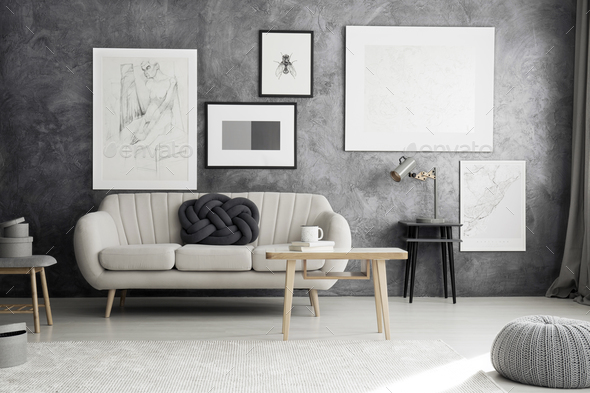 Bright couch in living room - Stock Photo - Images