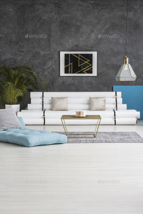 Poster in living room interior - Stock Photo - Images