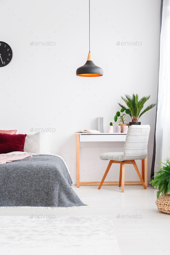 Bright bedroom interior with plant - Stock Photo - Images