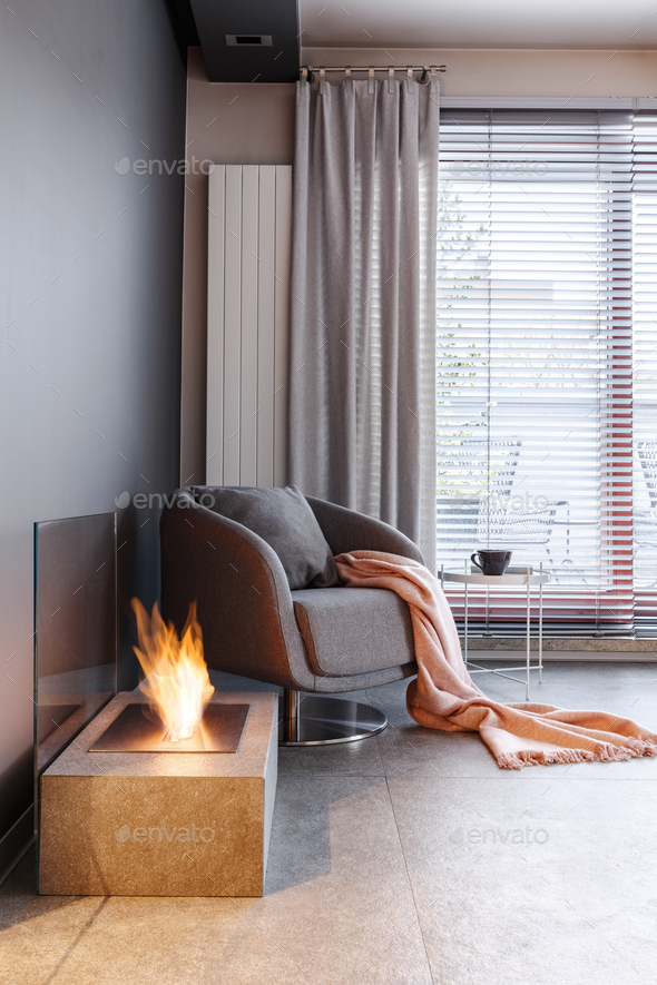 Fireplace in cozy living room - Stock Photo - Images