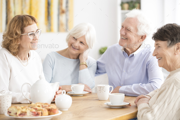 Senior people drinking tea - Stock Photo - Images