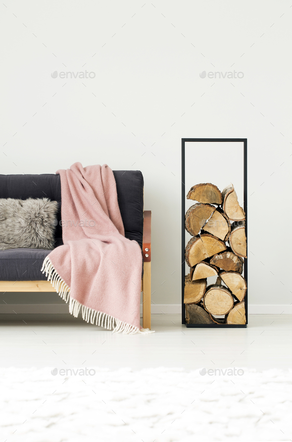 Interior with logs of wood - Stock Photo - Images