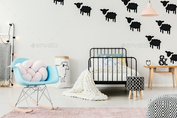 Interior with sheep motif - Stock Photo - Images