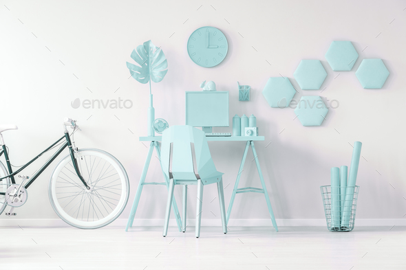 Blue workspace concept - Stock Photo - Images