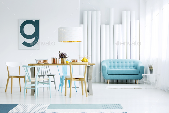 Poster in dining room interior - Stock Photo - Images