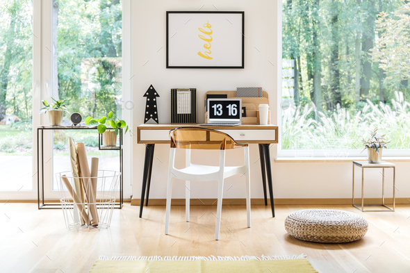 Poster in bright workspace - Stock Photo - Images