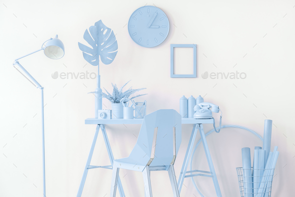 Mockup in blue workspace interior - Stock Photo - Images