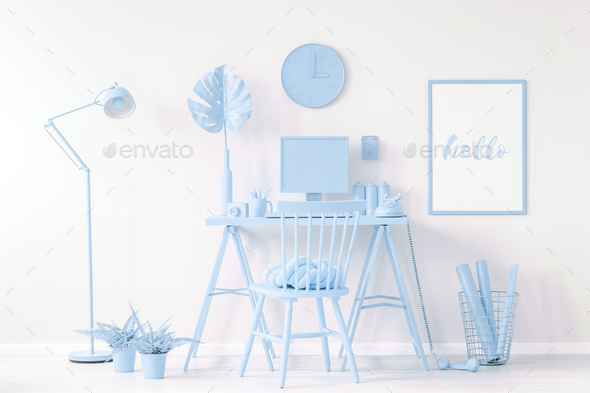 Poster in blue work area - Stock Photo - Images