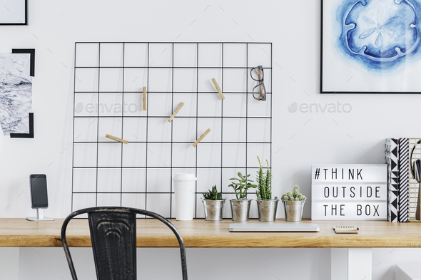 Home office with metal grid - Stock Photo - Images