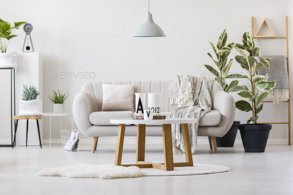 Wooden table in the center - Stock Photo - Images