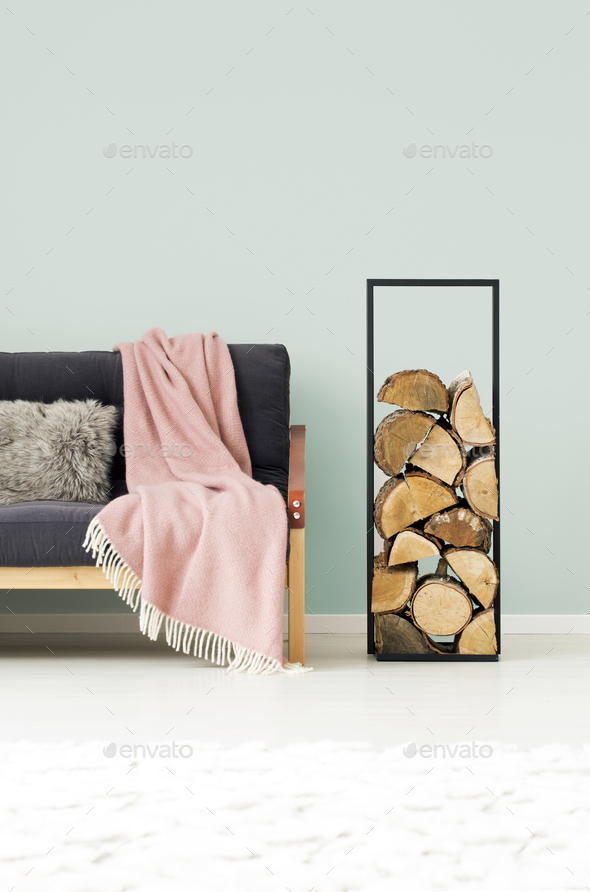 Logs of wood in apartment - Stock Photo - Images