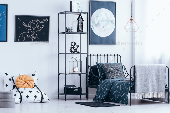 Child bedroom with metal bed - Stock Photo - Images