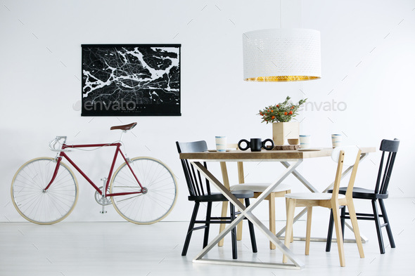 Bike in dining room - Stock Photo - Images