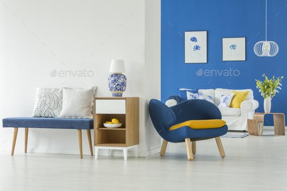 Modern blue living room - Stock Photo - Images