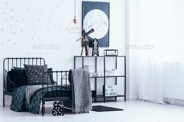 Bedroom interior with gold stars - Stock Photo - Images