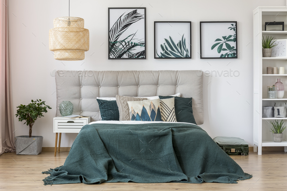 Leaves posters in bedroom interior - Stock Photo - Images