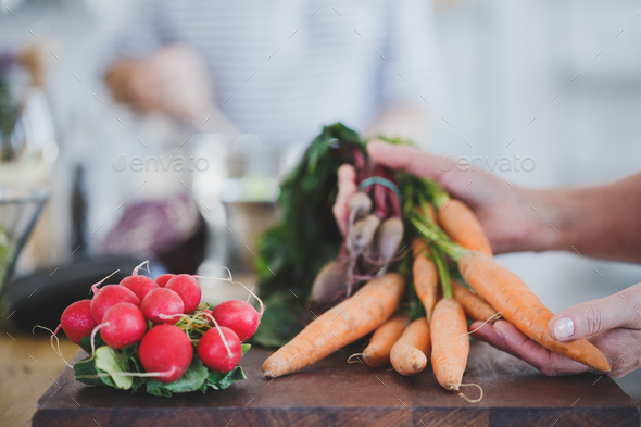 Close-up of carrots and radish - Stock Photo - Images