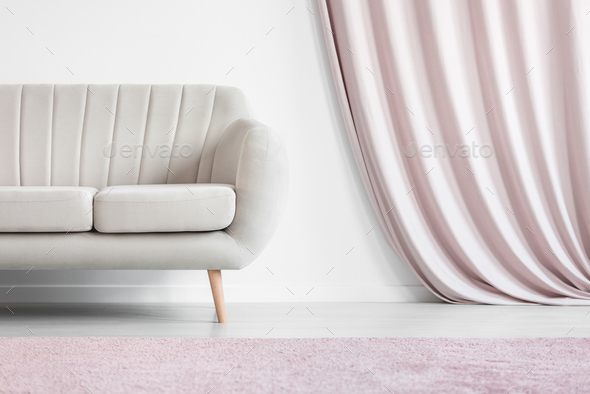 Drapes in cozy living room - Stock Photo - Images