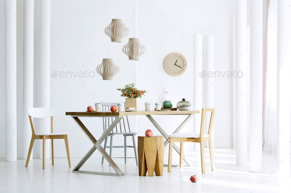 Natural dining room interior - Stock Photo - Images