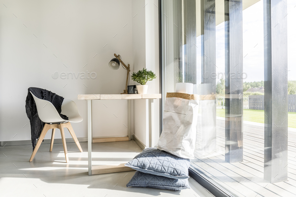 Office with view on terrace - Stock Photo - Images