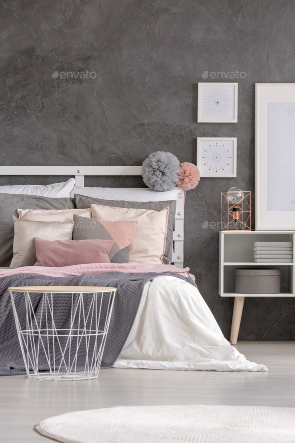 Grey bedroom interior - Stock Photo - Images