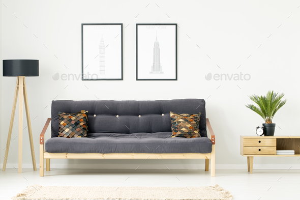 Leather pillows on dark couch - Stock Photo - Images