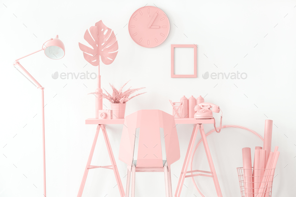 Pink workspace interior - Stock Photo - Images