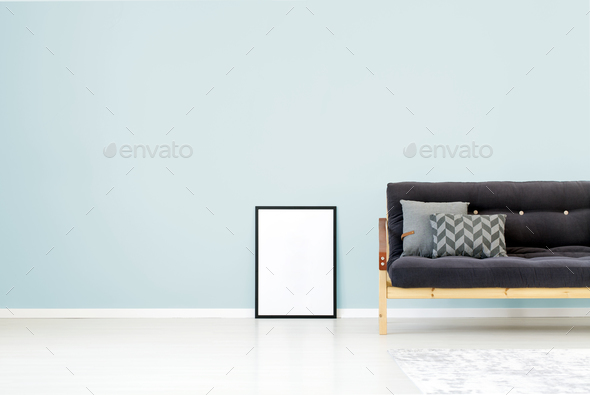 Blue wall living room - Stock Photo - Images